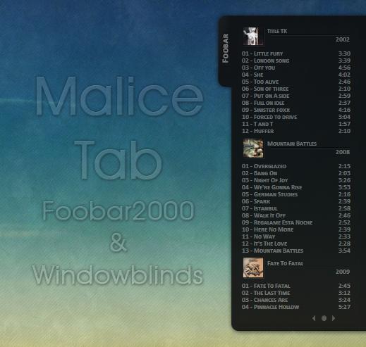 Malice Tab Foobar 2000 by amaeli