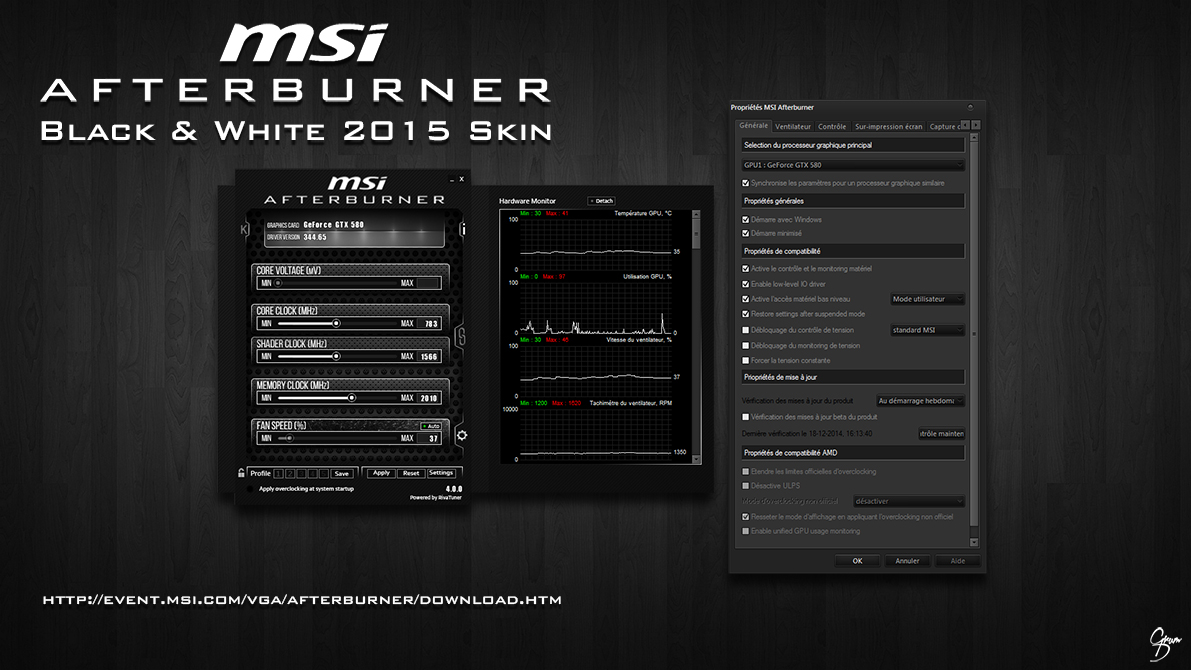 MSI Afterburner Black and White 2015 Skin by Grum-D on