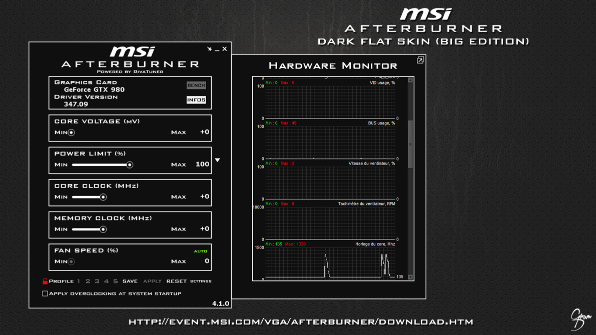 MSI Afterburner Dark Flat Skin [BIG EDITION] by Grum-D on