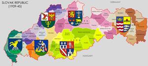 Heraldic map of wartime Slovak Republic