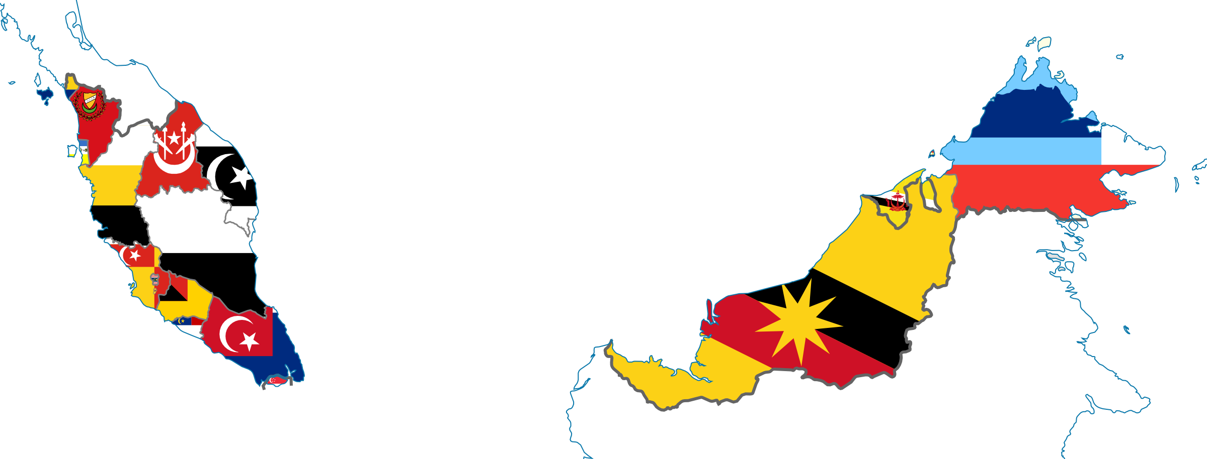 Picture of: Flag Map Of States Of Malaysia Singapore Brunei By Hosmich On Deviantart