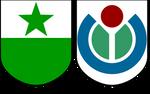 Coats of arms of Esperanto and Wikimedia