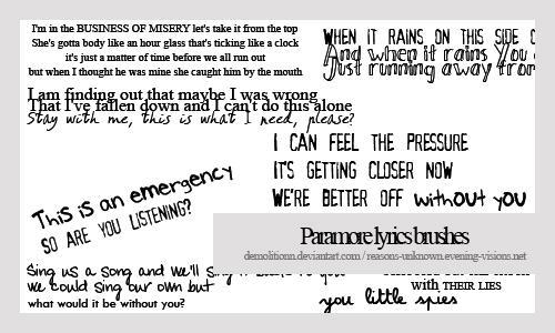 Paramore lyrics brush