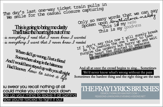 The Fray lyrics brush set