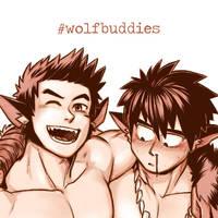 Wolf Buddies - Raeyr X Fenris Halloween Crossover by MondoArt