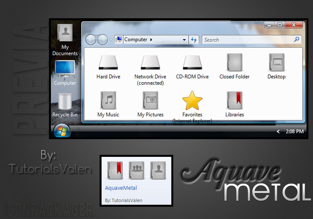Theme for Iconpackager AQUAVE METAL by ValentinaCyrus