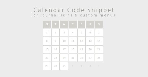 Code Snippet - Calendar by Gasara