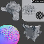 Dragonscale Brush setup for Sculpting in Blender by DennisH2010