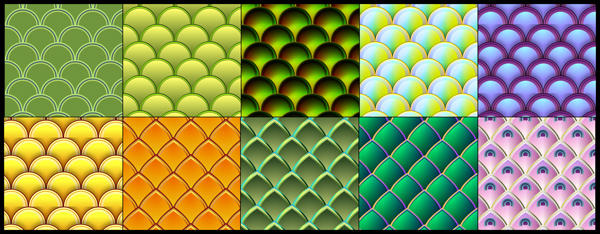 10 vector fish and serpent scale patterns