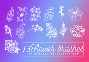13 Flower Brushes by Mabling