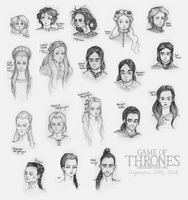 Targaryens and Tullys and Starks (Oh My!) - Sketch by piertotum-locomotor