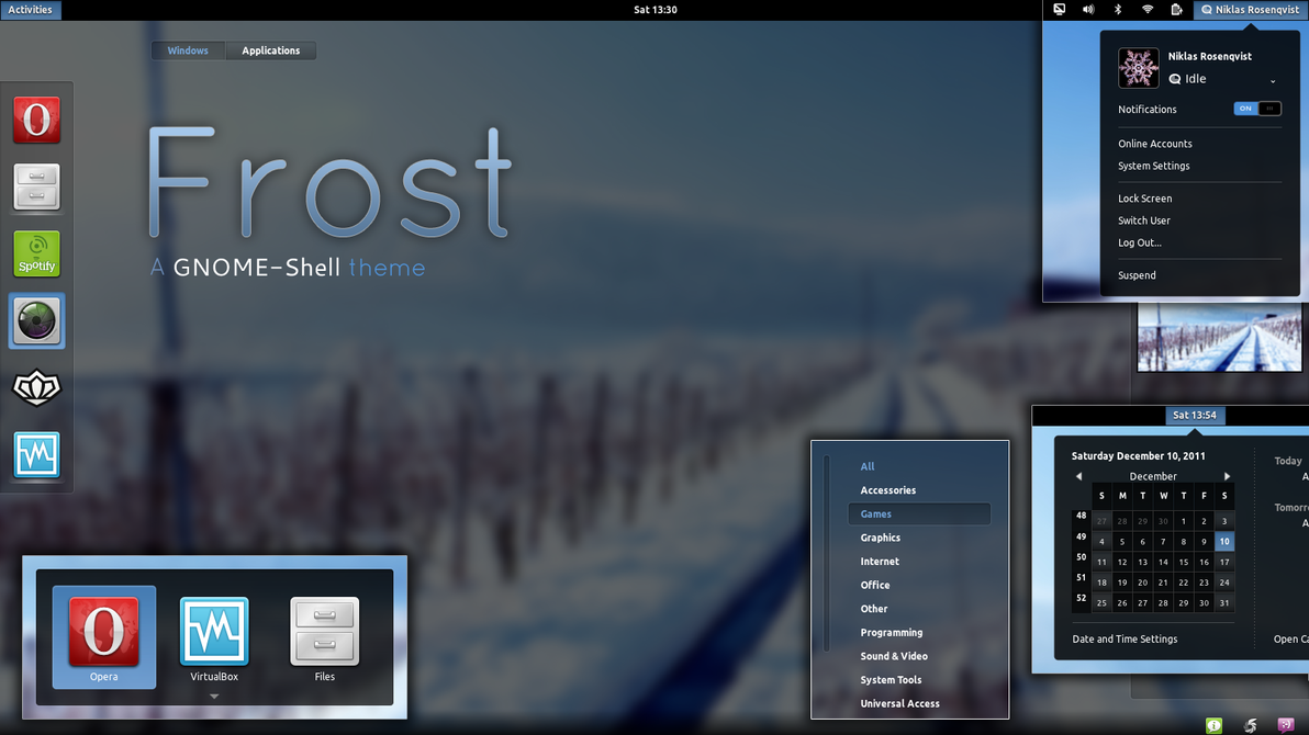 Frost - GNOME-Shell theme by nsrosenqvist