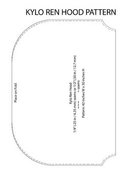 Kylo Ren Hood Ver. 2 Pattern - 42 inch x 30 inch