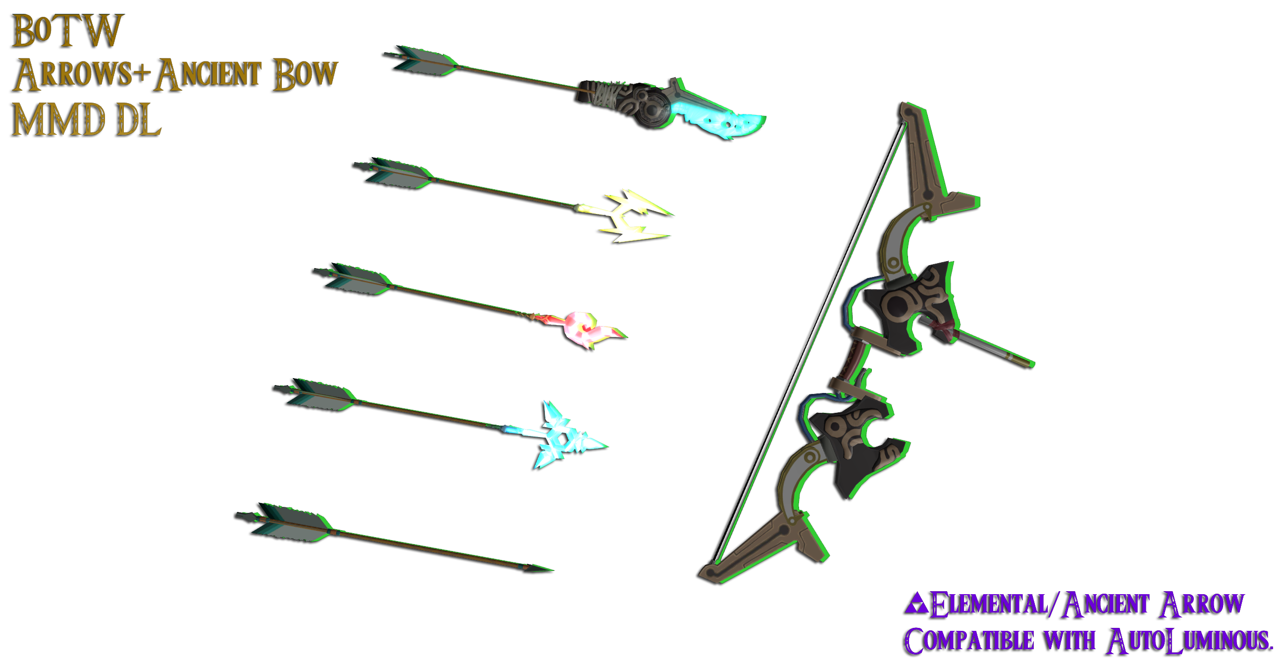 MMD - Ancient Bow + Arrows (BoTW) [+Dl]| by Hylian-Ale on