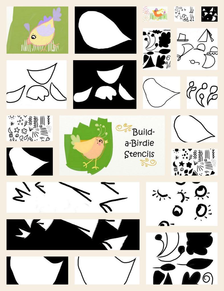 Build-a-birdie ArtRage Stencil by Foxytocin