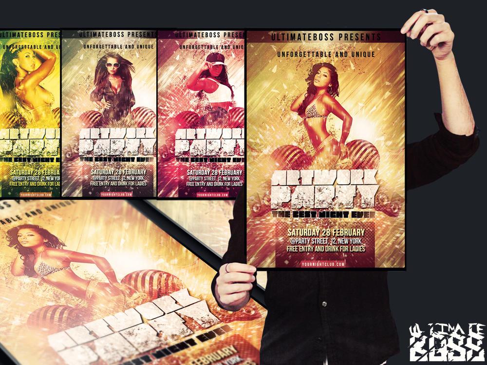 FREEMIUM artwork party flyer psd by ultimateboss