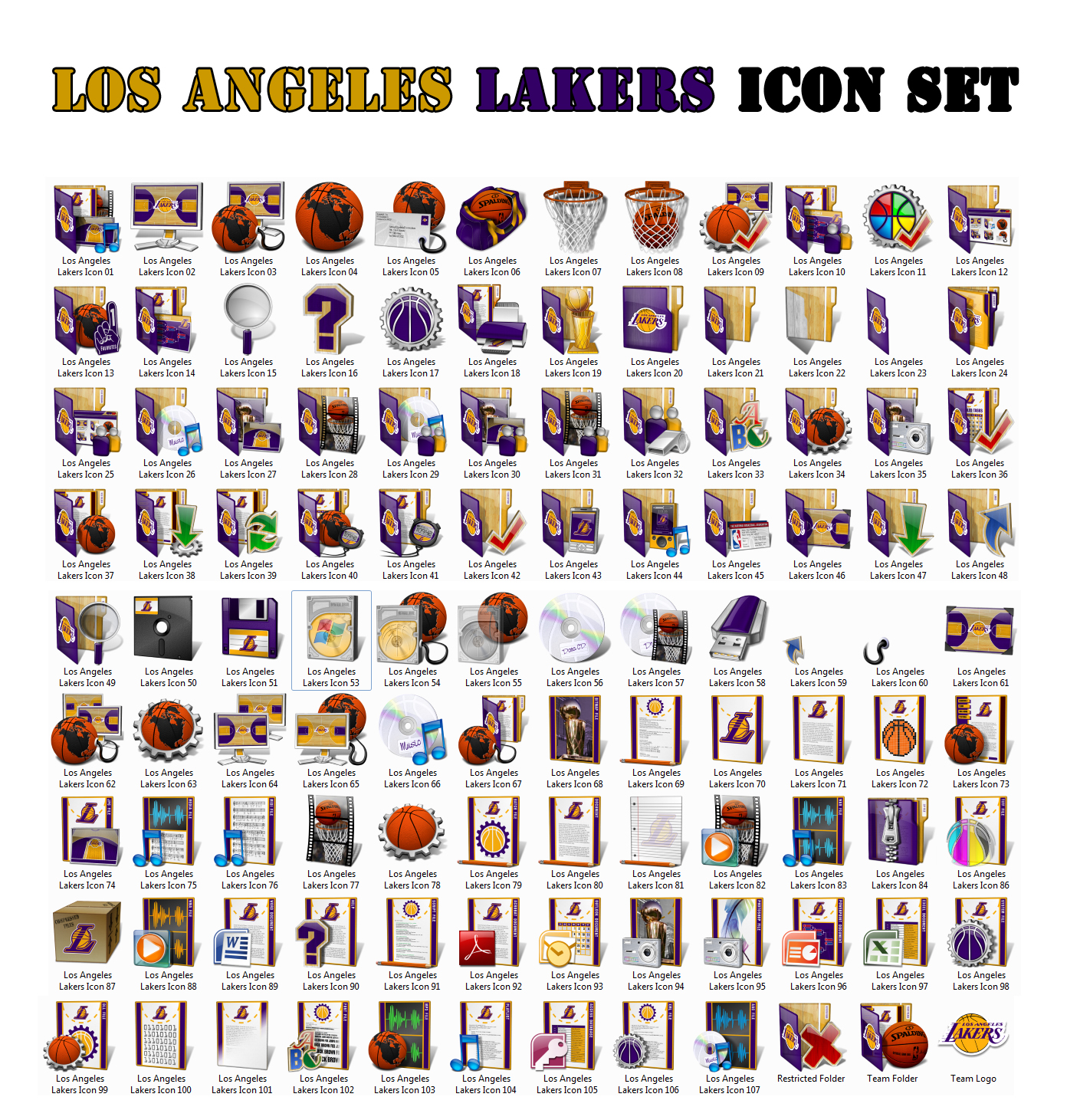 Los Angeles Lakers Icon Set by