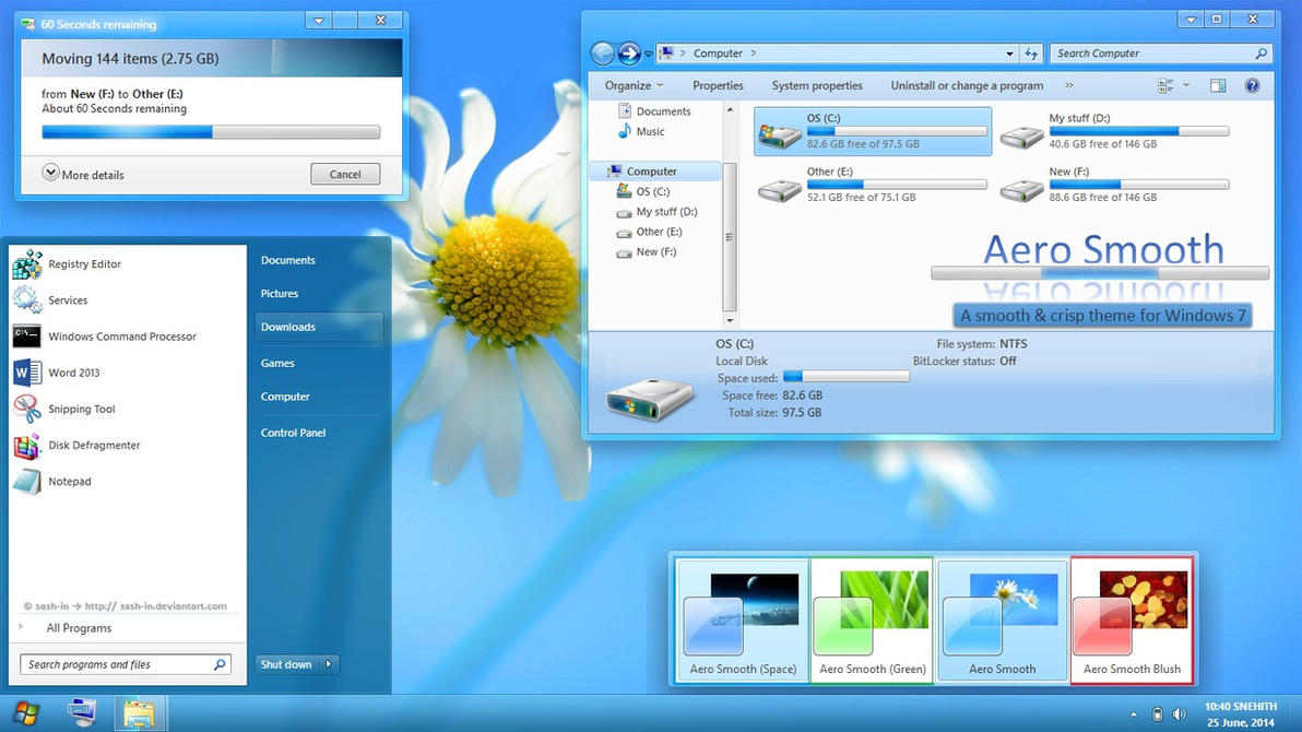 Aero smooth theme for win7 skinpack customize your for Window 07 themes