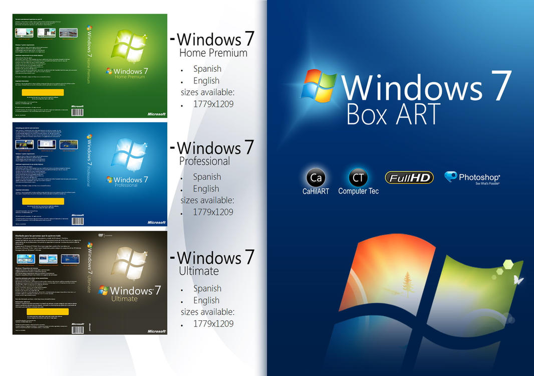 Windows 7 Box ART Cover disc by CaHilART