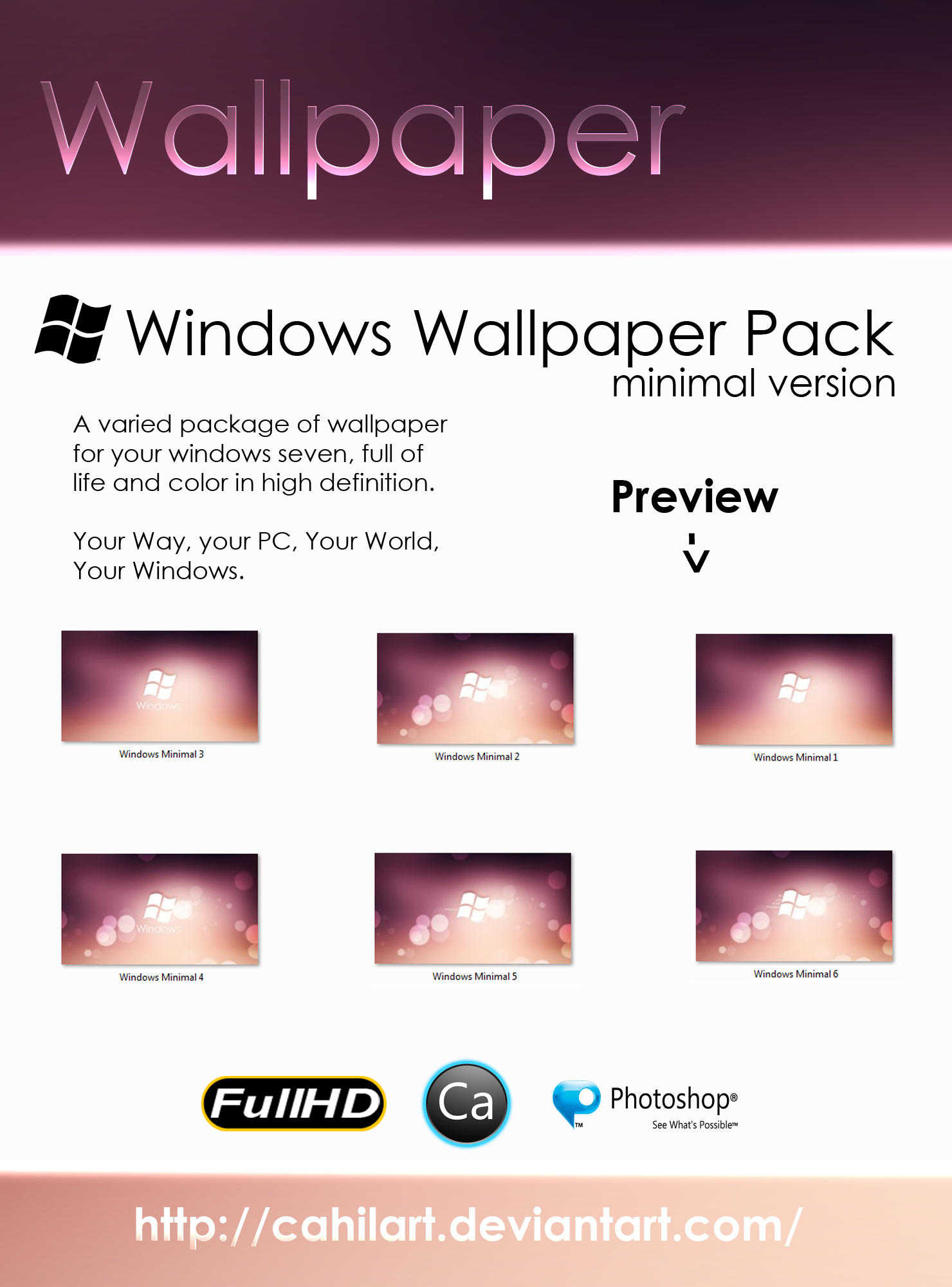 Wallpaper Windows Minimal Pack by CaHilART