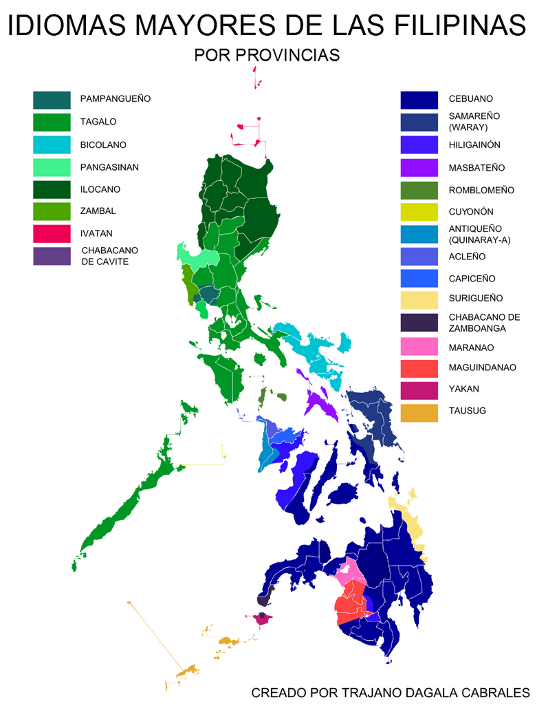 Spanish Philippines Map.Linguistic Map Of The Philippines Spanish By Trajanocabrales On