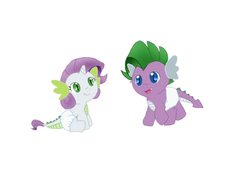 Platina and Tom (Rarity and Spike Twins) by YukiDeidara
