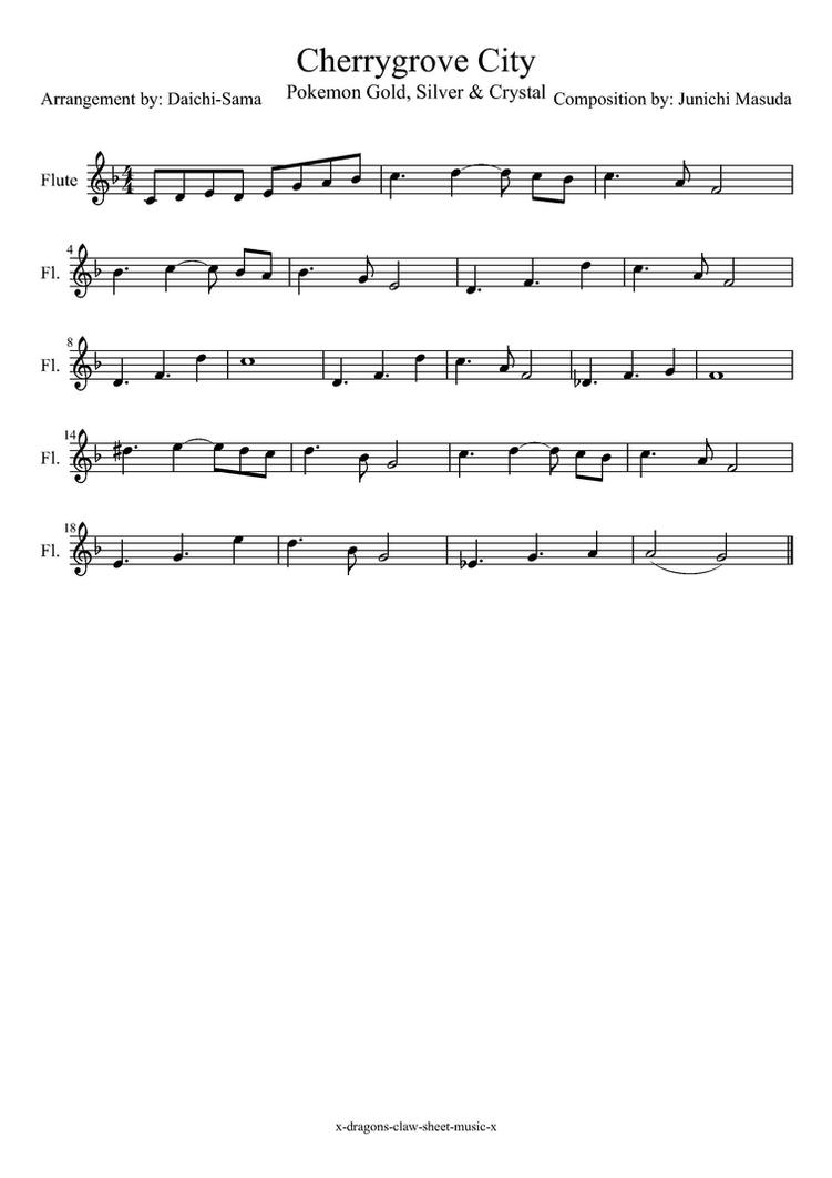 Cherrygrove City Pokemon flute sheet music by drakon-thedragon on ...