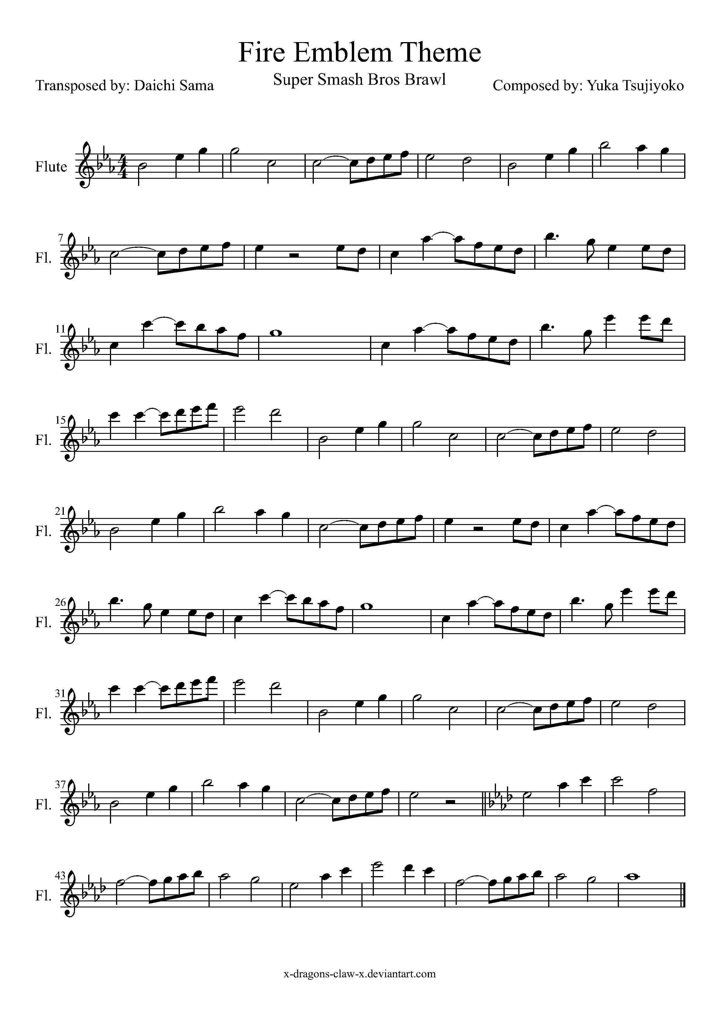 SSBB Fire Emblem Theme Flute Sheet Music by drakon-thedragon