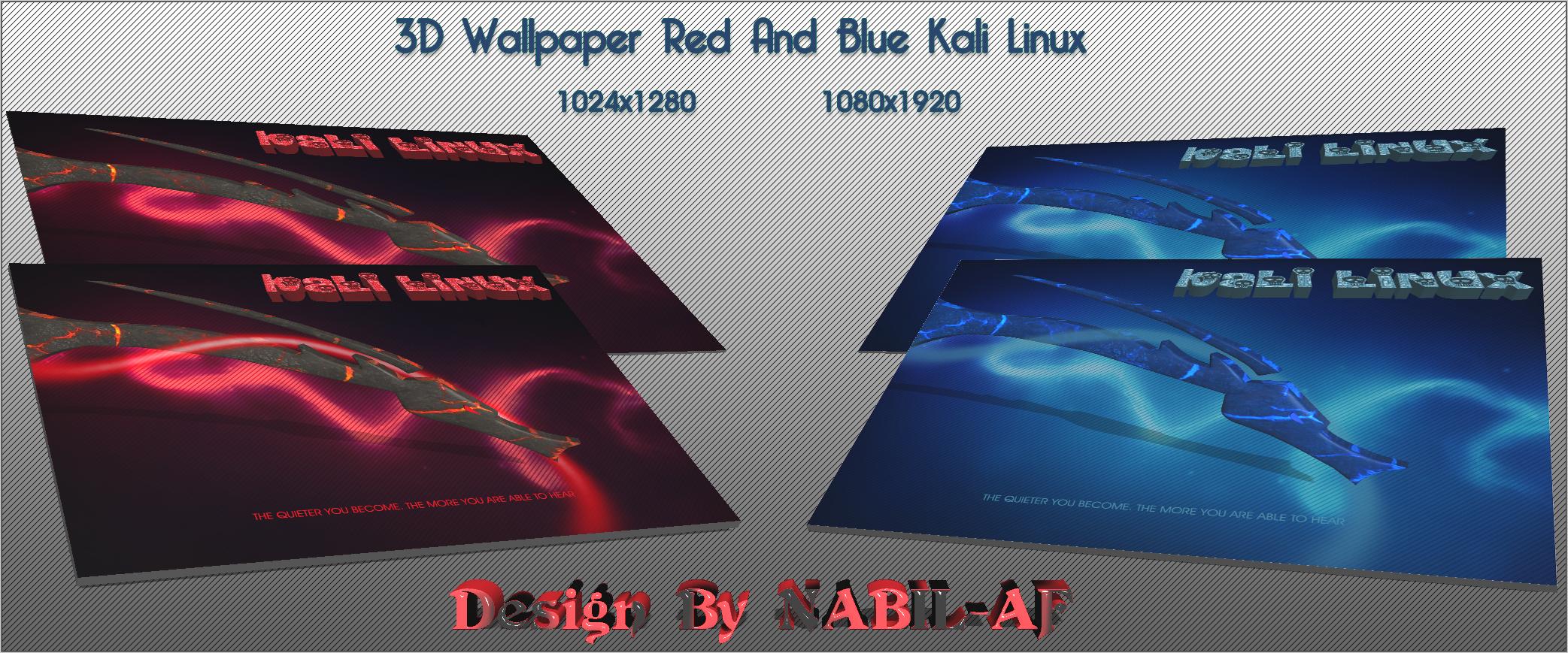 3d Wallpaper Red And Blue Kali Linux By Nabil Af On Deviantart