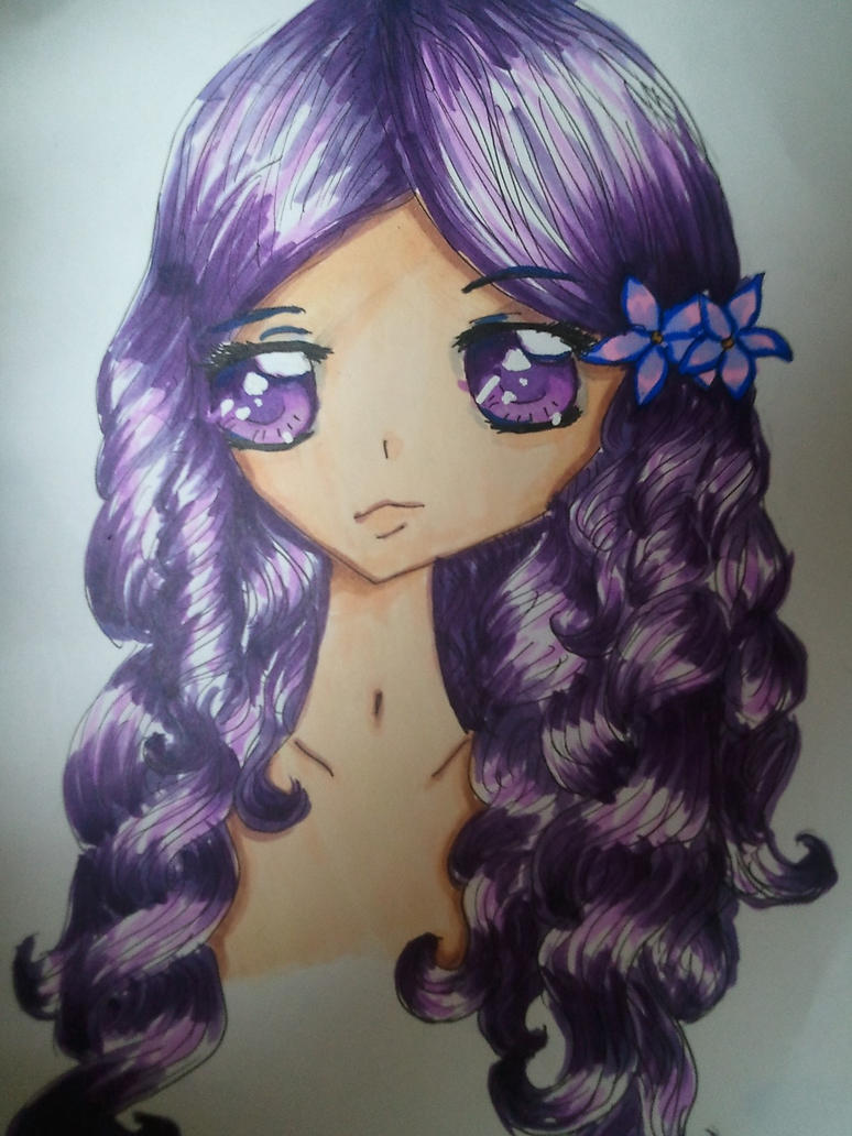 purple haired anime girl by ilovechibis2 on deviantart