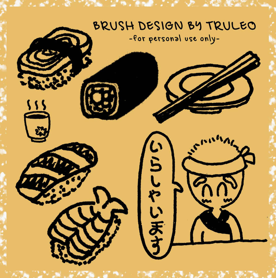 Sushi Doodle Photoshop Brush by truleo