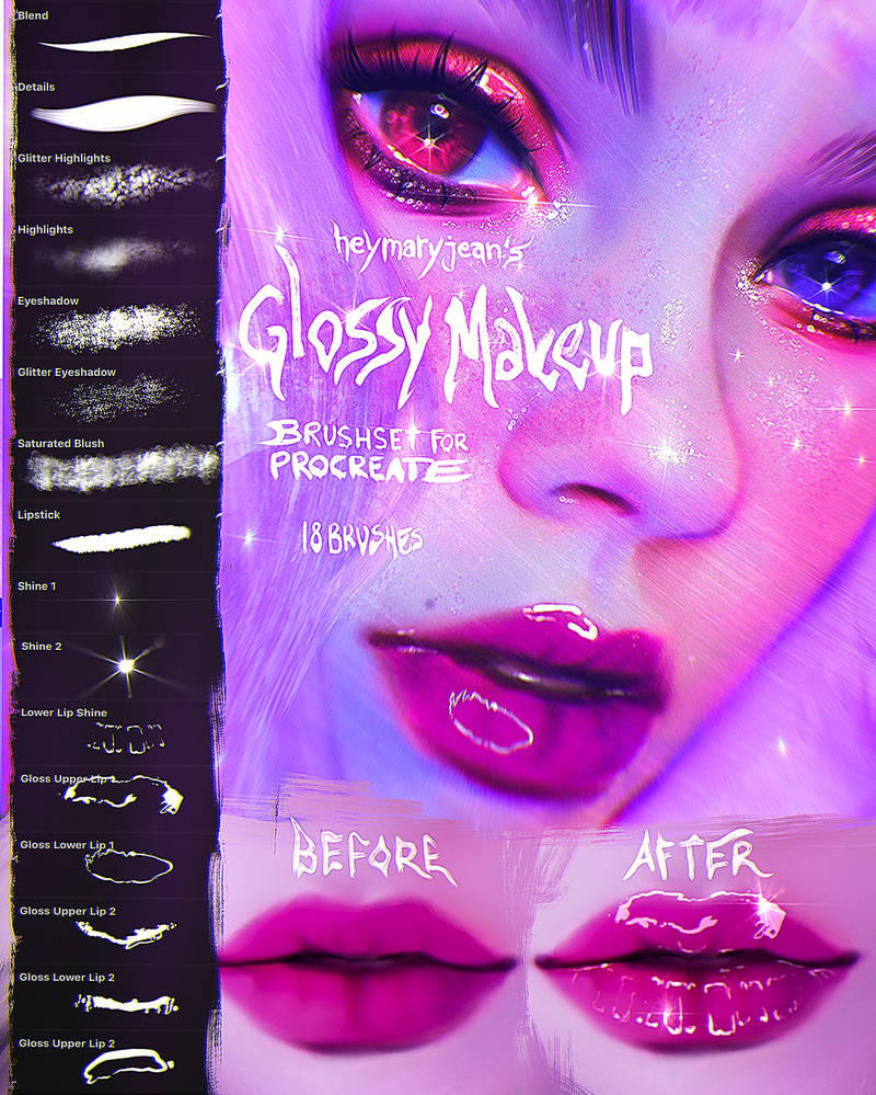 Glossy Makeup Brushset for Procreate by heymaryjean on DeviantArt