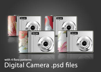 digital camera with 4 floral patterns .psd files by maysunny