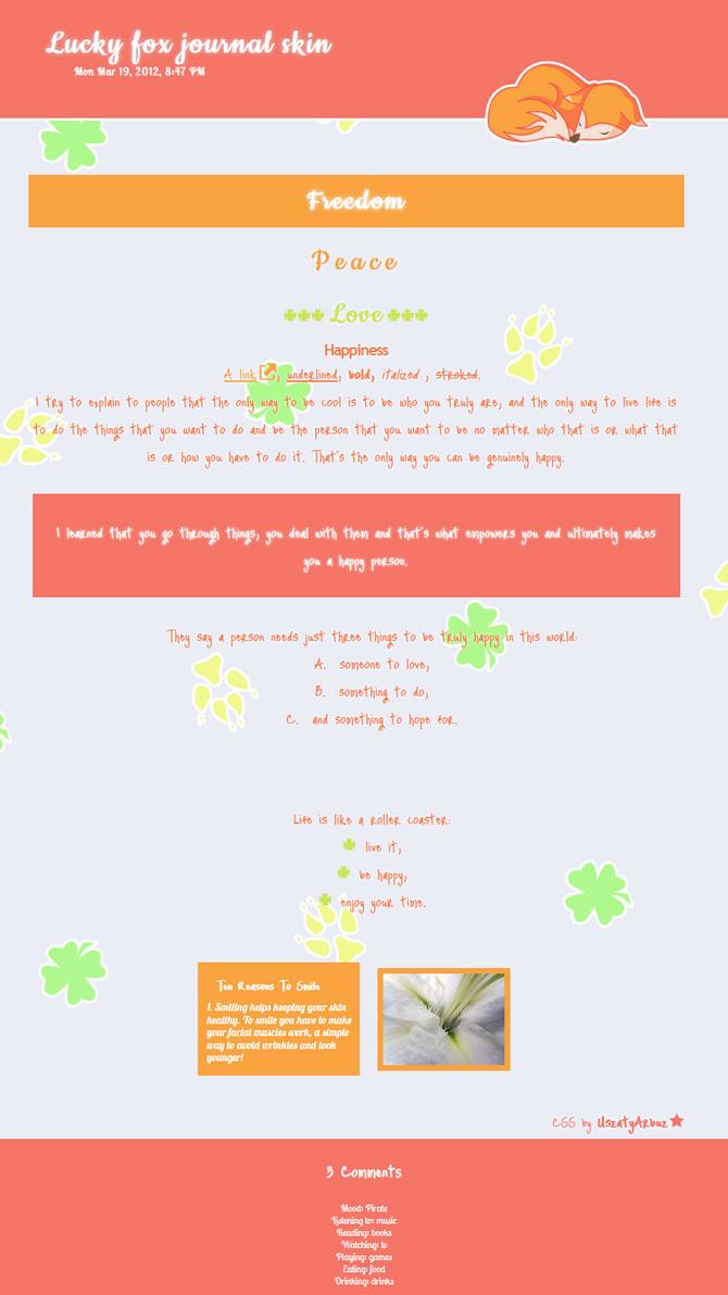 Free Lucky fox journal skin by UszatyArbuz