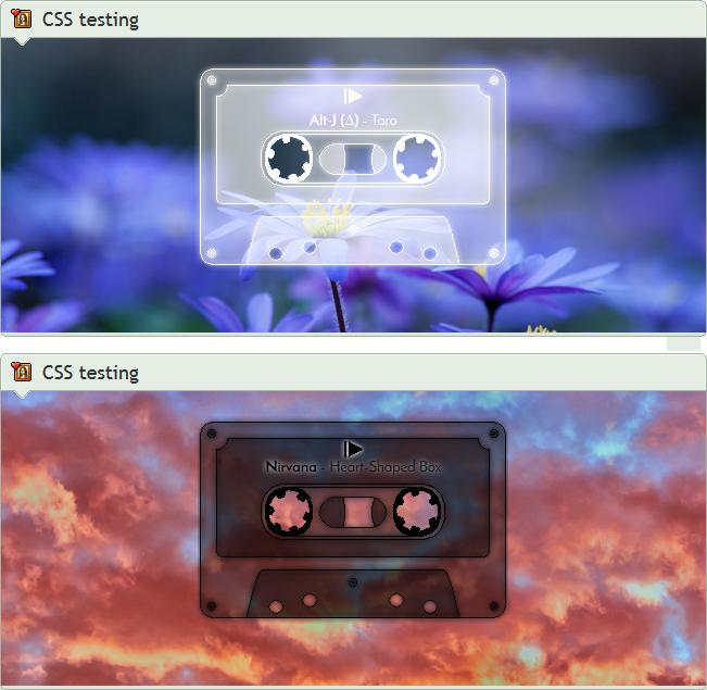 Custom box: Minimalist mixtape music player (CSS) by