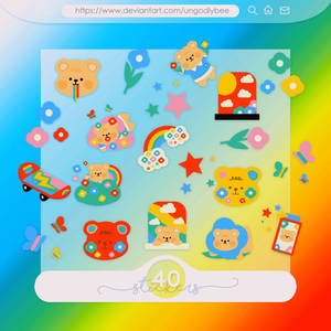 #59 PNG STICKERS PACK [Colourful Bears]