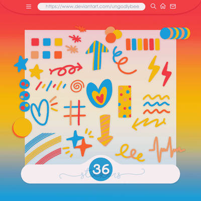 #60 PNG STICKERS PACK [Random Shapes]
