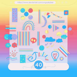 #62 PNG STICKERS PACK [Colourful Shapes]