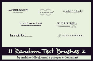 Random Text Brushes 2 by pureyes