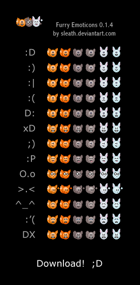 Furry Emoticons   ++ MOVED ++ by FuzzballFury