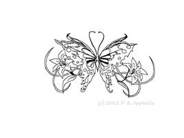 Butterful Tattoo Lineart by AppleLily