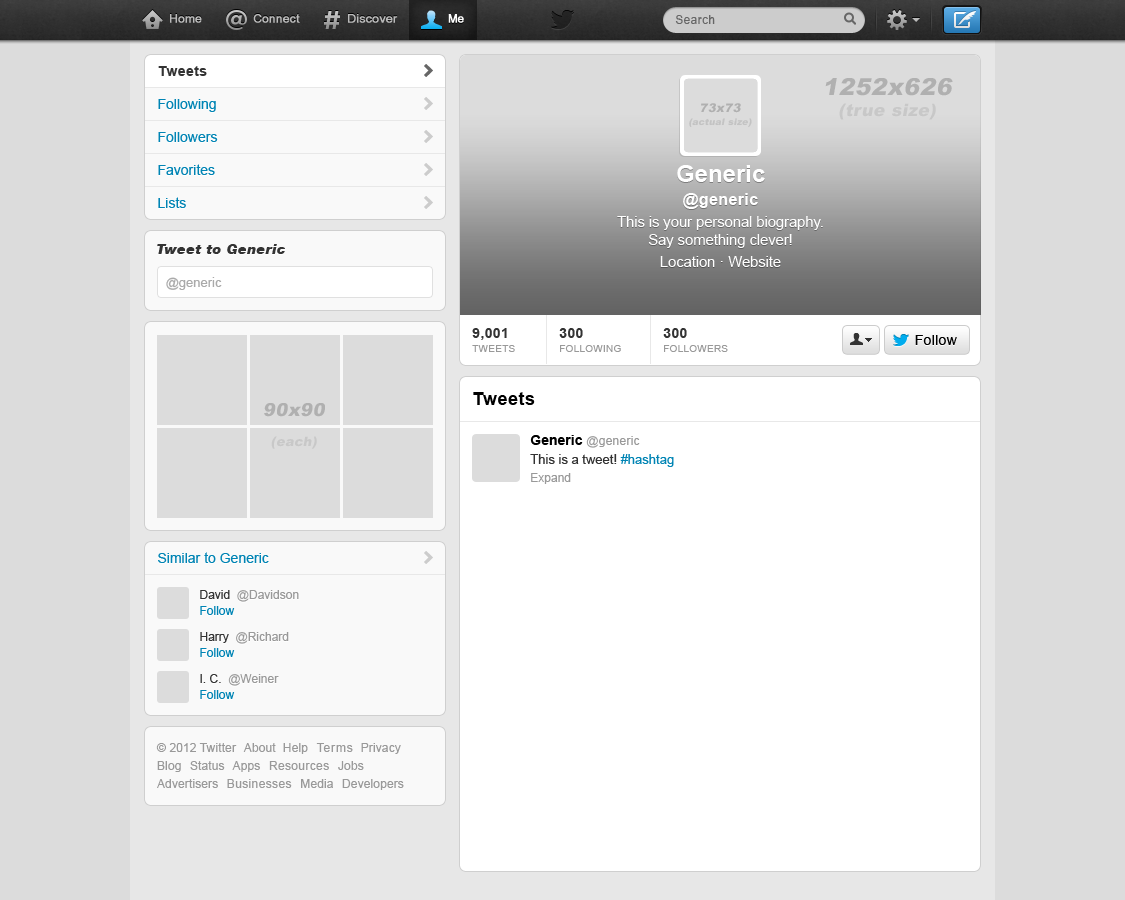Blank Twitter Profile New twitter template by