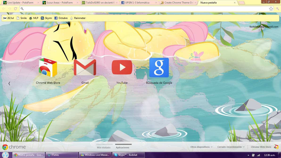 Fluttershy At The Hot Springs Google Chrome Theme By