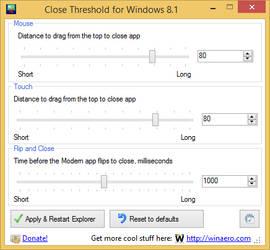 Close Threshold for Windows 8.1
