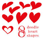 8 Doodle Heart Shapes