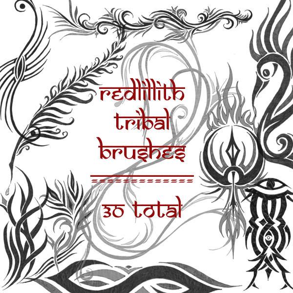 misc tribal brushes by redLillith