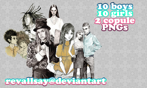 10 boys 10 girls 2 couple PNGs by revallsay