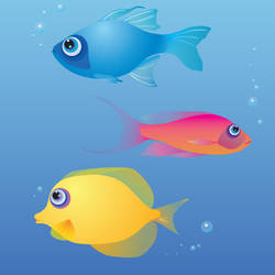 Primary Fishies Vector Doodles