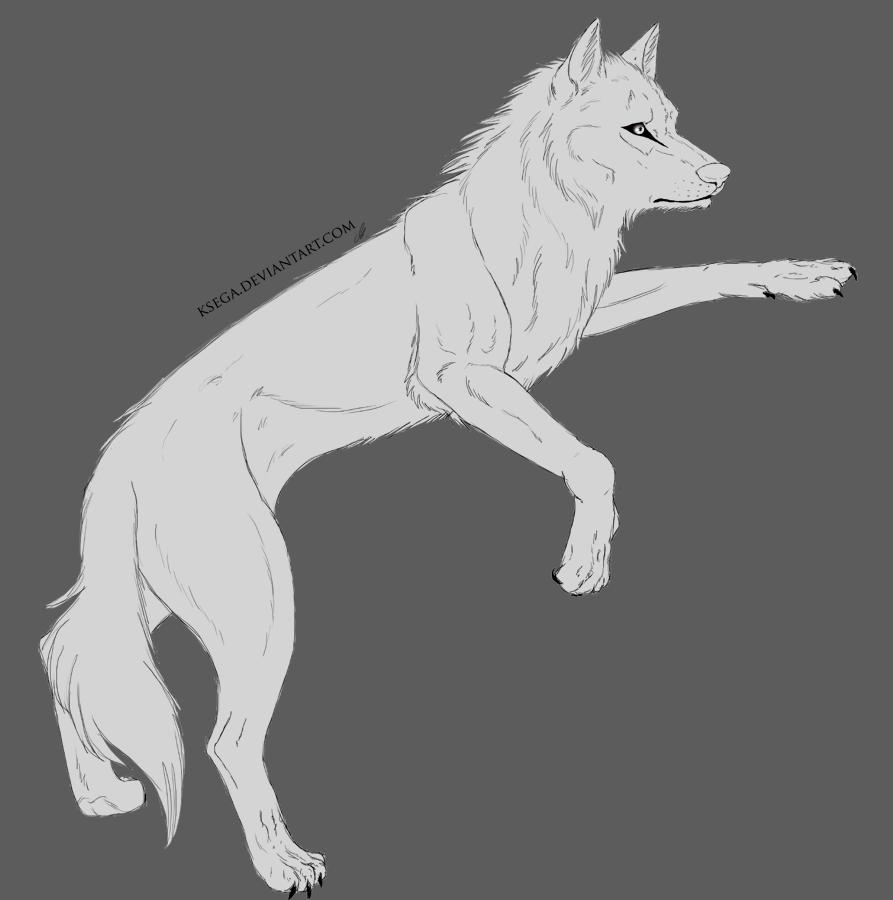Wolf Lineart by miyuuma