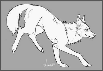 Free Wolf Lineart PSD